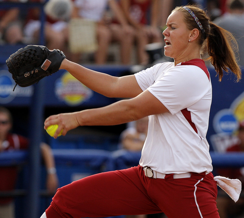 Photo - Oklahoma's Keilani Ricketts (10) pitches during the championship game of the Women's College World Series as ASA Stadium in Oklahoma City, Tuesday, June 5, 2012. Photo by Bryan Terry, The Oklahoman