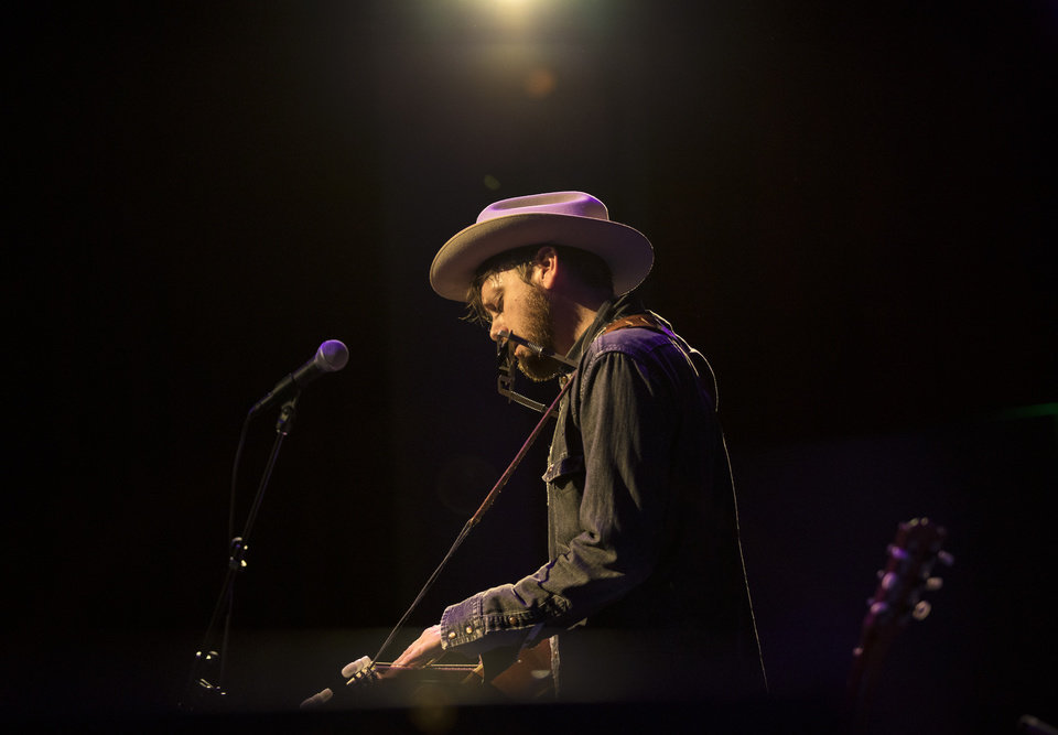 Photo -  Tulsa's Travis Linville performing live at the Tower Theatre on Jan. 21. [Photo by Nathan Poppe, The Oklahoman]