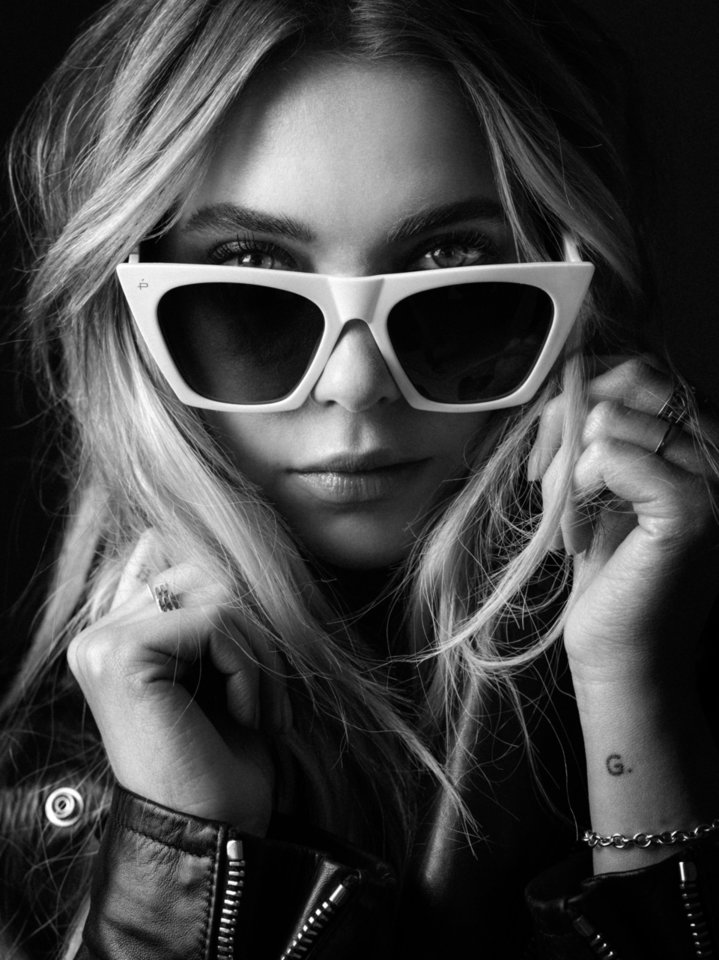 Photo - Ashley Benson models the Victoria, a classic sunglasses style with an angular upsweep.