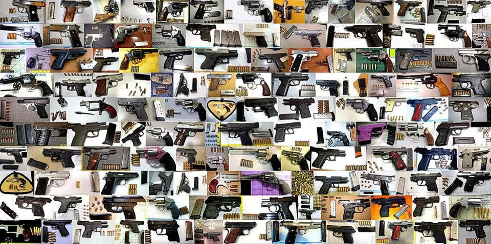 Photo - Some of the loaded firearms discovered in carry-on baggage at U.S. airports in 2013.   - TSA