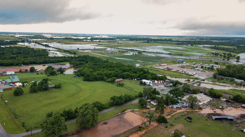 Photo - Drone image of flooding along Route 66, looking west towards El Reno and north from Route 66. Image by Dave Morris