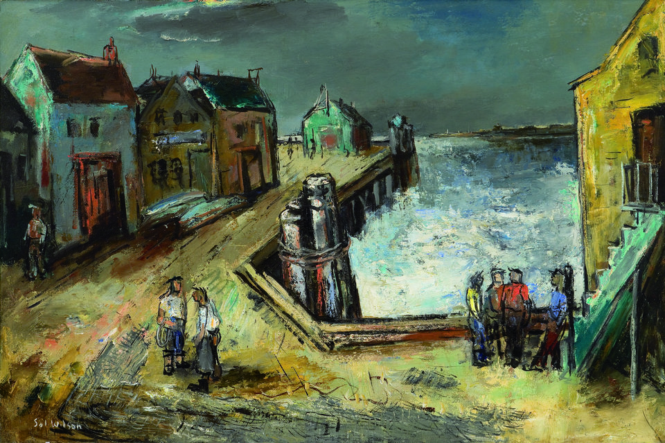 """Fishermen on a Wharf, an oil on canvas by Sol Wilson   Photo by Etienne Frossard <strong>Etienne Frossard</strong>"