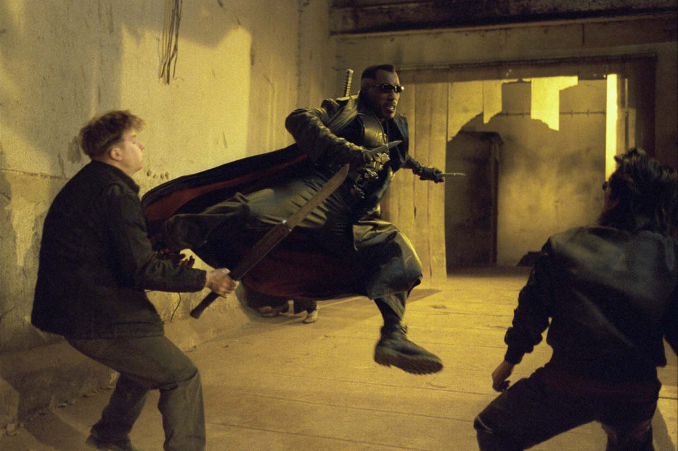 """Photo -  MOVIE: Blade (Wesley Snipes, center) takes care of some Vampires in New Line Cinemas action thriller,""""Blade II"""".  (AP Photo/Bruce Talamon/New Line Cinema)"""