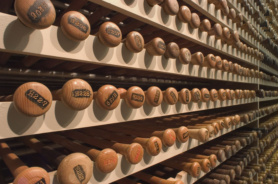 Photo - This undated image released by the Louisville Slugger Museum & Factory shows the bat vault in Louisville, Ky. Visitors can trace that baseball heritage along the Louisville Slugger Walk of Fame, stretching about a mile from the Louisville Slugger Museum & Factory to the city's minor-league ballpark. (AP Photo/Hillerich & Bradsby)