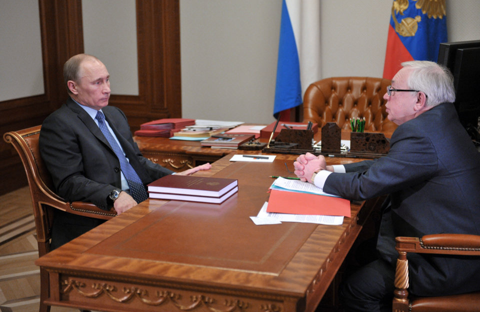 Russian President Vladimir Putin, left, and presidential human rights ombudsman Vladimir Lukin meet in the Bocharov Ruchei residence in the Black Sea resort of Sochi, Thursday, March 28, 2013. Putin said the goal behind sweeping raids of non-government organizations in Russia, is to check their compliance with the law intended to stem foreign meddling in the nation\'s politics. (AP Photo/RIA-Novosti, Alexei Nikolsky, Presidential Press Service,Pool)