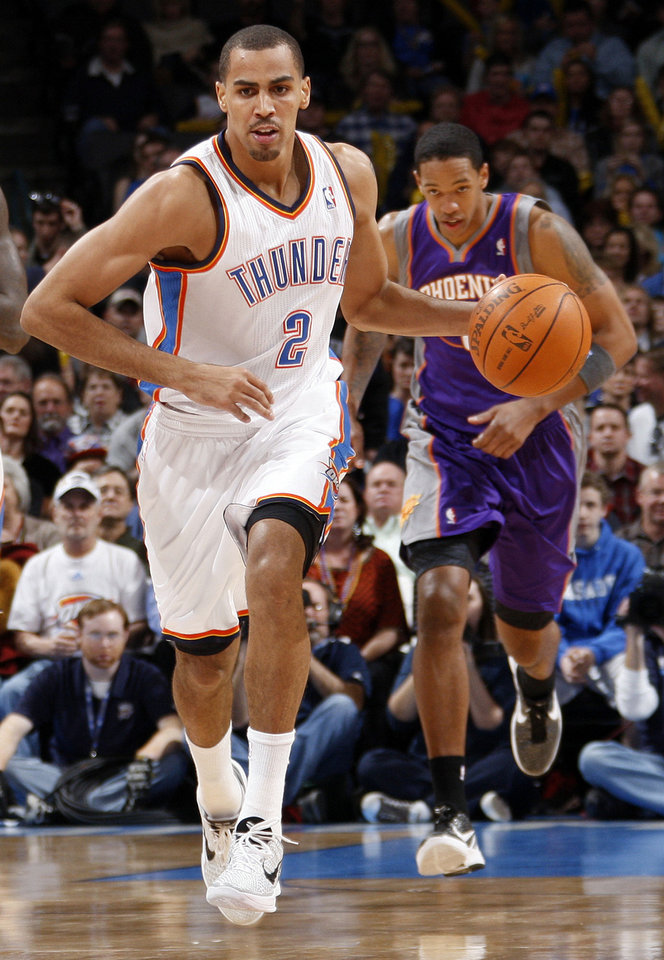 Oklahoma City's Thabo Sefolosha (2) leads a fast break during the NBA basketball game between the Oklahoma City Thunder and Phoenix Suns at Chesapeake Energy Arena in Oklahoma City, Saturday, Dec. 31, 2011. Photo by Nate Billings, The Oklahoman <strong>NATE BILLINGS</strong>