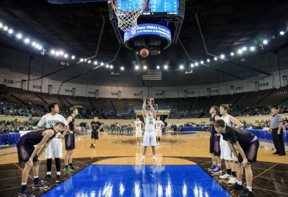 Photo -  Leedey and Red Oak square off in a state tournament basketball game at Jim Norick Arena in March 2018. [Chris Landsberger/The Oklahoman]