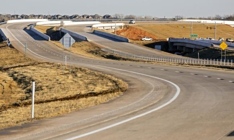 Photo -  The Southwest Extension of the John Kilpatrick Turnpike in Oklahoma City is nearly complete and ready for a partial opening on Thursday, [Chris Landsberger/The Oklahoman]