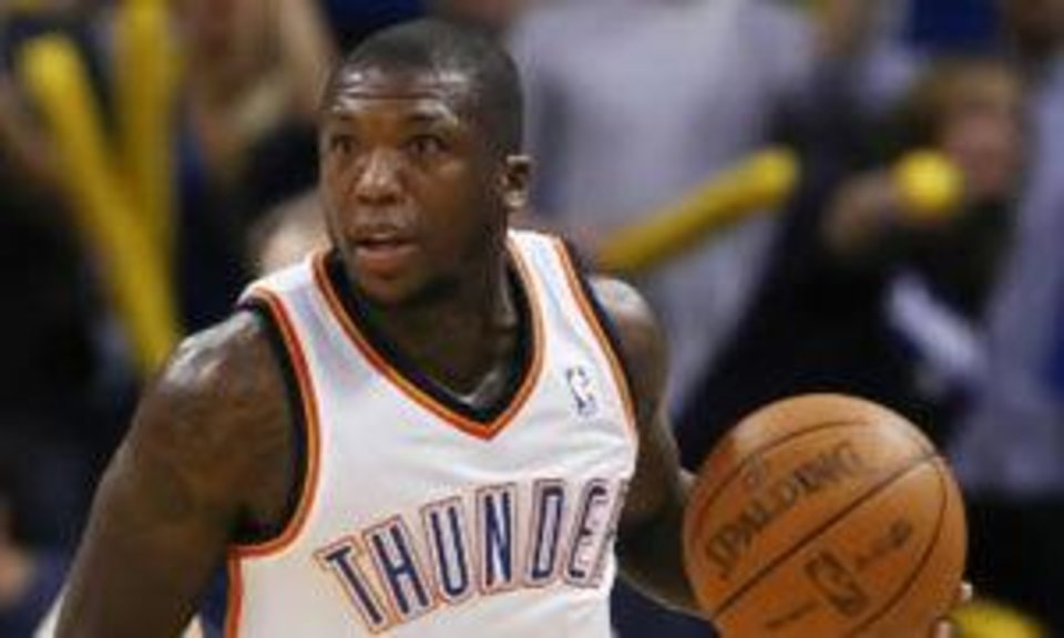 Oklahoma City Thunder's Nate Robinson drives downcourt against the Indiana Pacers in the second half of an NBA basketball game in Oklahoma City on Wednesday, March 2, 2011. Oklahoma City defeated the Pacers 113-89. (AP Photo/Alonzo Adams)