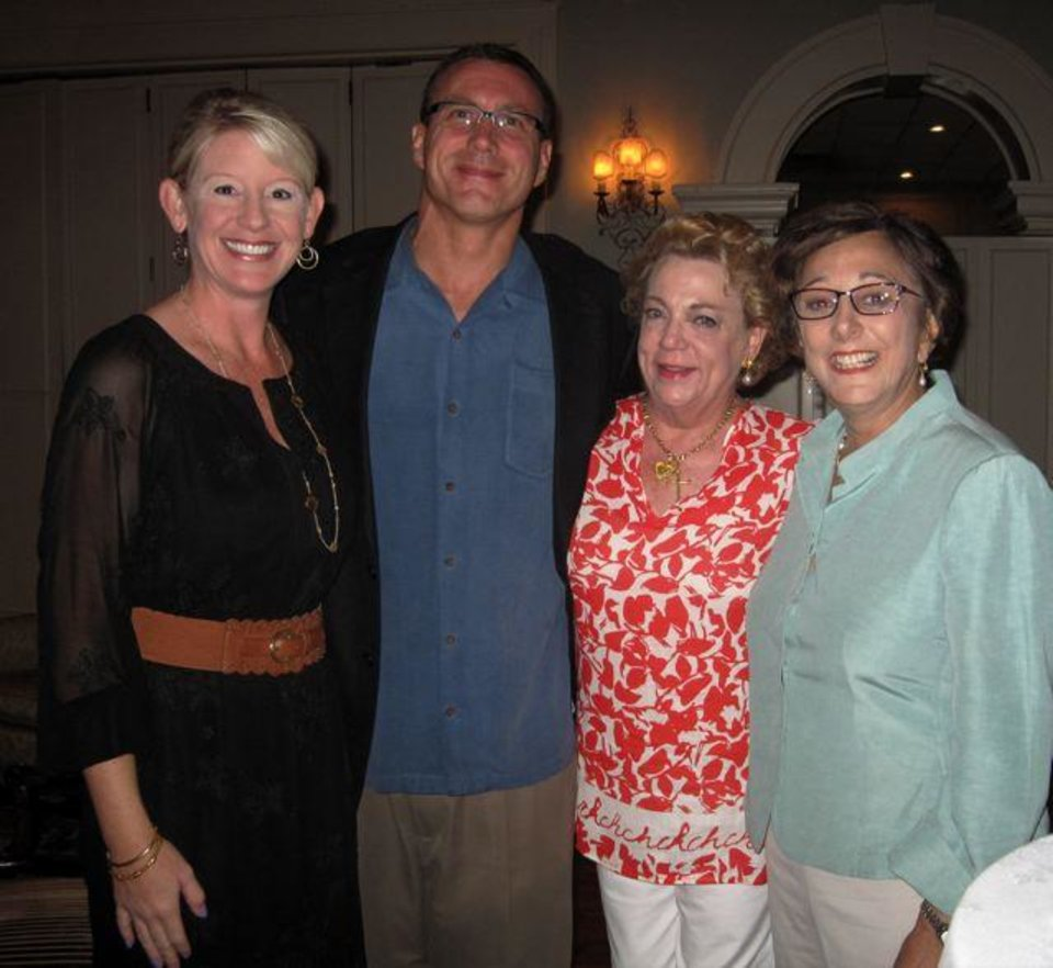 Mandy and Jason Beeler, Barbara Beeler and Pam Shdeed celebrate the upcoming wedding for Erin Moore and Blake Beeler. (Photo by Helen Ford Wallace).