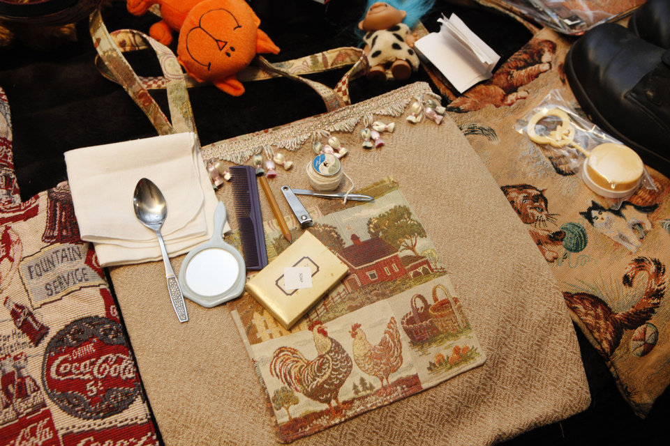 "These are examples of tote bags, or ""Faye Bags"" as they've been nicknamed, made by Faye Flowers, an 89-year-old woman who has been making and collecting things for the needy her whole life. Photo by David McDaniel/The Oklahoman <strong>David McDaniel</strong>"