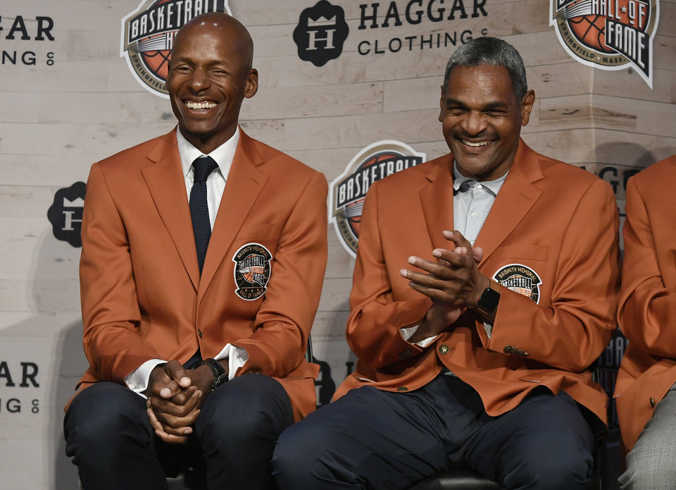 Photo -  Thunder assistant coach Maurice Cheeks, right, shares a laugh with fellow Naismith Basketball Hall of Fame inductee Ray Allen at a news conference Thursday in Springfield, Mass. [AP PHOTO]