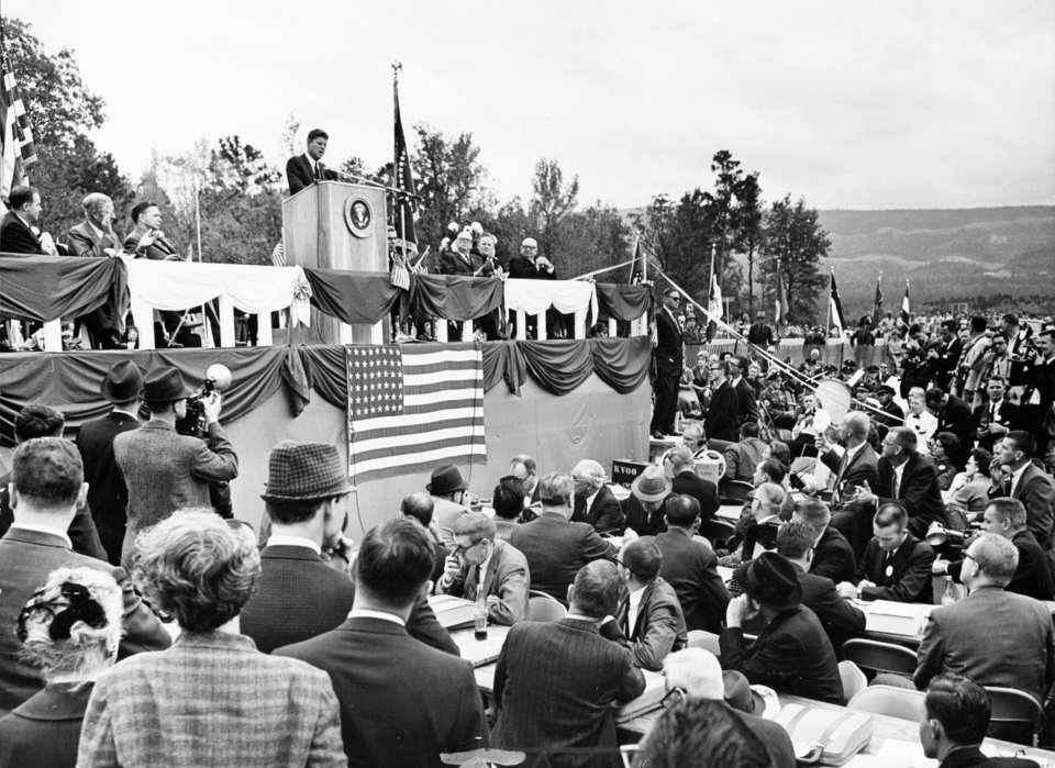 Photo - About 25,000 people attended the formal opening of a scenic route along State Highway 103. President John F. Kennedy spoke at the event and then cut the ceremonial ribbon. Oklahoman Archive Photo