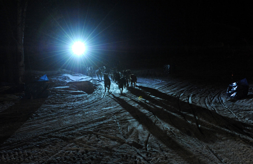 Photo - Four-time Iditarod champion Martin Buser arrives first at the Yukon River in Anvik, Alaska during the Iditarod Trail Sled Dog Race, early Friday, March 8, 2013. (AP Photo/Anchorage Daily News, Bill Roth) LOCAL TV OUT (KTUU-TV, KTVA-TV) LOCAL PRINT OUT (THE ANCHORAGE PRESS, THE ALASKA DISPATCH)