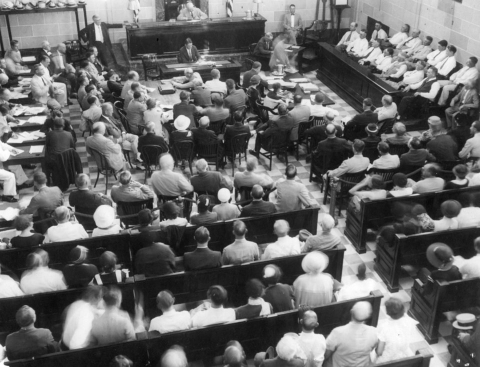 Photo - Overall photo of crowded federal courtroom during the Charles F. Urschel kidnapping trial. 10/8/1933