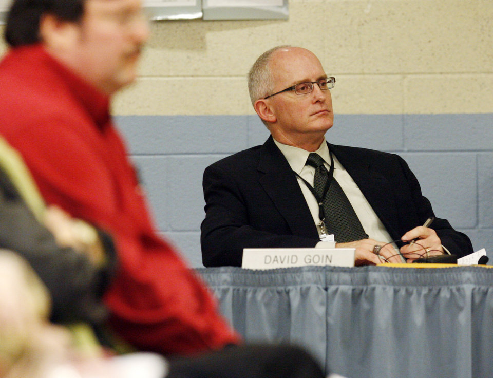 Photo - Superintendent David Goin listens during the Edmond Board of Education's Public Forum concerning the district's proposed new drug testing policy, at Edmond North High School in Edmond, Okla., February 9, 2009. BY NATE BILLINGS, THE OKLAHOMAN