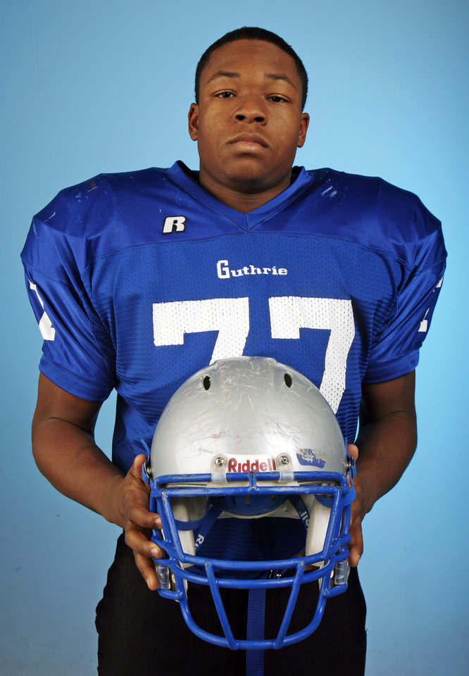Jonathan Washington, Guthrie, poses for a photo in the OPUBCO studio for The Oklahoman's All-State Football Team, in Oklahoma City, Wednesday, Dec. 12, 2007. By Nate Billings, The Oklahoman