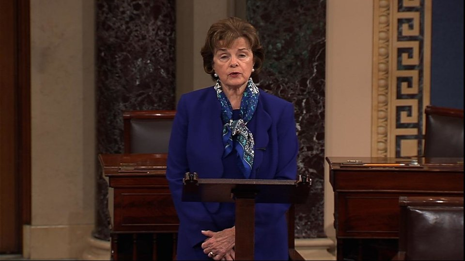 Photo - This video framegrab from Senate Television shows Senate Intelligence Committee Chair Sen. Dianne Feinstein, D-Calif. speaking on the floor of the Senate on Capitol Hill in Washington, Tuesday, March 11, 2014.  Feinstein said the CIA improperly searched a stand-alone computer network established for Congress as part of its investigation into allegations of CIA abuse in a Bush-era detention and interrogation program.  (AP Photo/Senate Television)