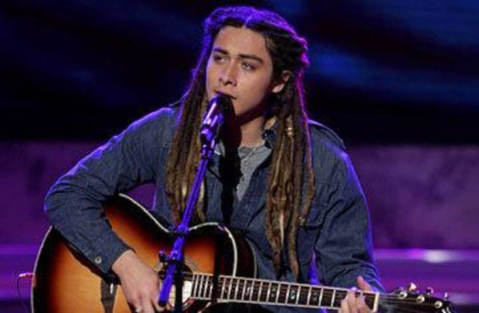 Jason Castro performs a song as a contestant on Season 7 of the Fox reality TV show