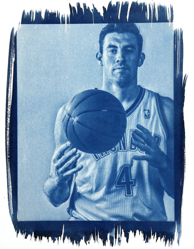 Photo - Nick Collison's minutes have decreased the last three seasons, but that could change this year.   Photo by Chris Landsberger/ Cyanotype print by Nate Billings, The Oklahoman