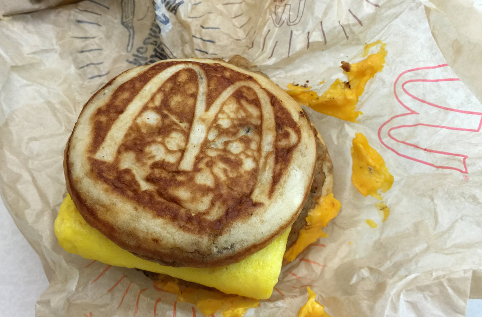 Photo - This Thursday, Jan. 28, 2016, file photo shows a McDonald's McGriddle sandwich in New York. [AP Photo/Candice Choi, File]