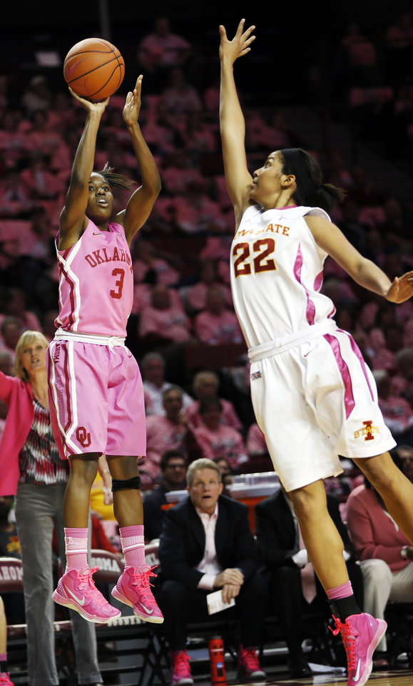 Photo - Oklahoma's Aaryn Ellenberg (3) shoots against Iowa State's Brynn Williamson (22) during an NCAA women's basketball game between the University of Oklahoma (OU) and Iowa State at the Lloyd Noble Center in Norman, Okla., Thursday, Feb. 14, 2013. Photo by Nate Billings, The Oklahoman