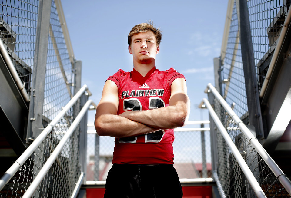 Photo - Blake Nowell poses for a photo at Plainview High School in Ardmore, Okla., Tuesday, July 9, 2019. [Sarah Phipps/The Oklahoman]