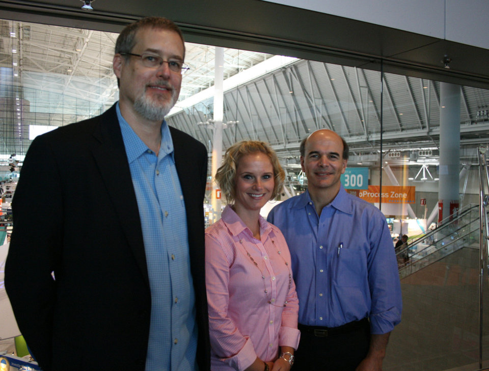 Photo - From left, Glenn Nedwin, CEO of Oklahoma City-based Caisson Biotech, along with Breca Tracy and Paul DeAngelis. Breca is director of business development and DeAngelis is company founder. PHOTO BY JIM STAFFORD   unknown