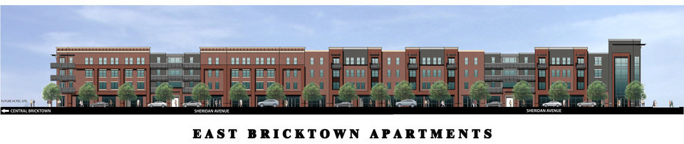 Plans for a 250-unit apartment complex in east Bricktown are shown in this rendering. <strong>provided</strong>