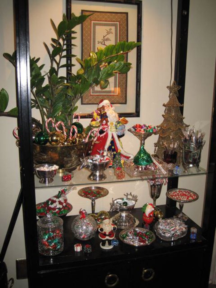 FESTIVE LOBSTER LUNCH...Kanela Huff's house was decorated for the holiday. This was a candy bar set up with Christmas candies. (Helen Ford Wallace).