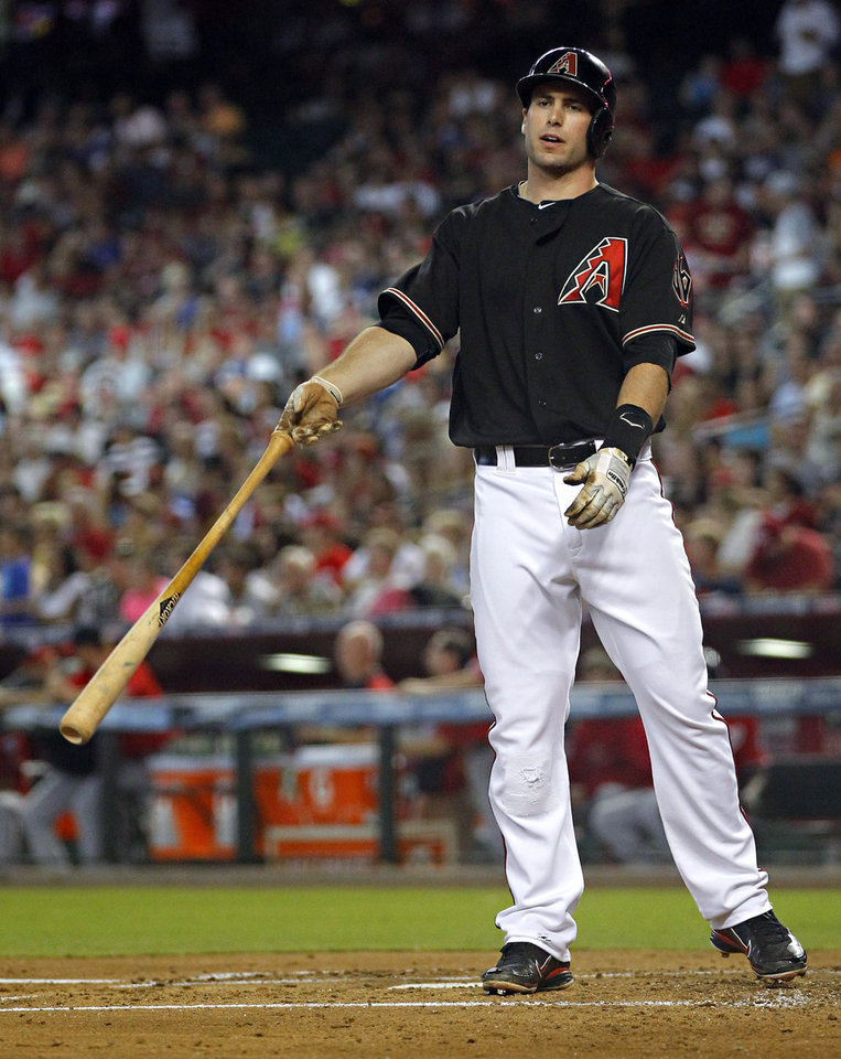 Photo -   Arizona Diamondbacks' Paul Goldschmidt tosses hit bat after striking out against the Washington Nationals during the first inning of a baseball game, Saturday, Aug. 11, 2012, in Phoenix. (AP Photo/Matt York)