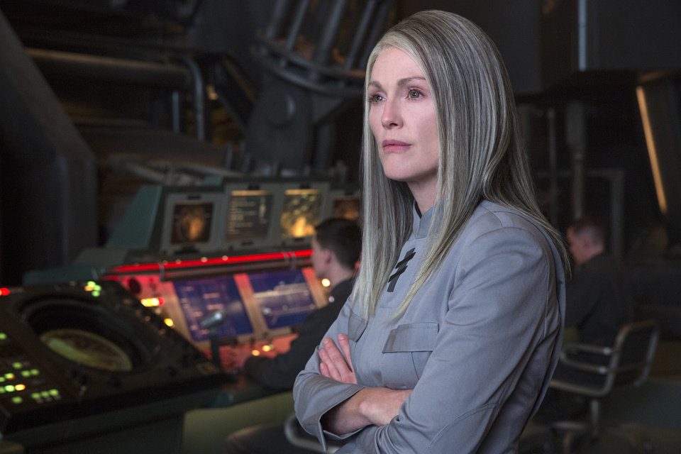 "Photo -  In this image released by Lionsgate, Julianne Moore portrays President Coin in a scene from ""The Hunger Games: Mockingjay — Part 1."" AP Photo/Lionsgate, Murray Close   Murray Close -  AP"