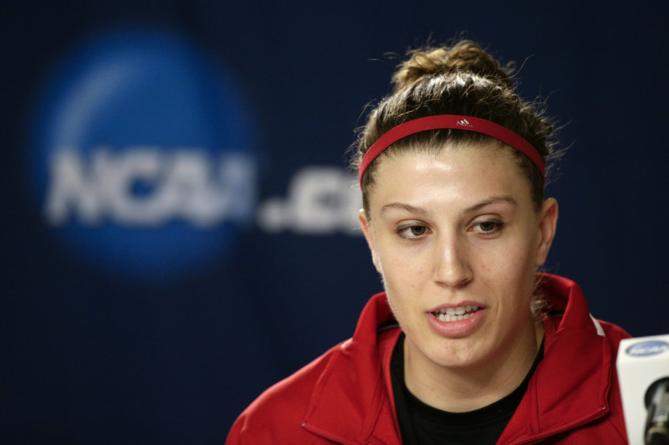Photo - Nebraska's Jordan Hooper answers questions from members of the media during a news conference on Sunday, March 23, 2014, in Los Angeles. Nebraska is scheduled to play BYU in a second-round game of the NCAA women's college basketball tournament on Monday. (AP Photo/Jae C. Hong)