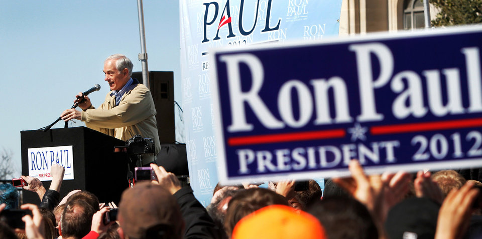Photo - About 1300 enthusiastic supporters rallied on the Capitol's south steps to hear and cheer comments by Republican presidential candidate Ron Paul during a brief visit to Oklahoma City on Saturday, Feb. 25, 2012. Photo by Jim Beckel, The Oklahoman