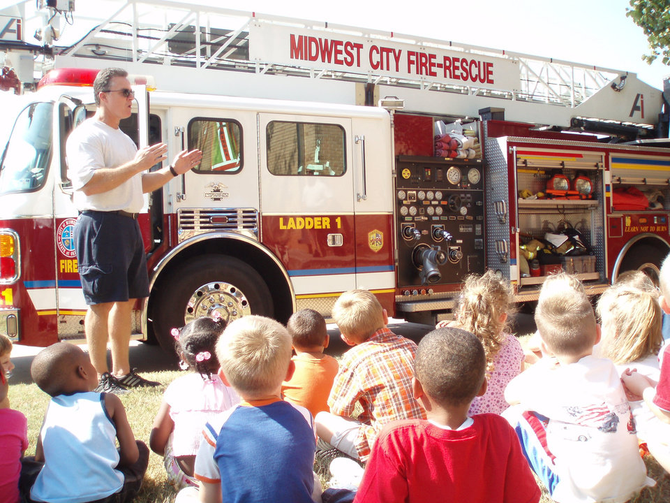 Midwest City firefighters teaching the importance of fire safety.<br/><b>Community Photo By:</b> Casey Rooney<br/><b>Submitted By:</b> Casey, Oklahoma city