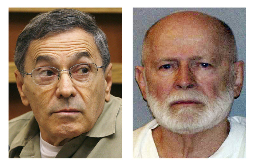 "This pair of file photos shows Stephen ""The Rifleman"" Flemmi, left, on Sept. 22, 2008, as he testified in a Miami court in the murder trial of former FBI agent John Connolly; and James ""Whitey"" Bulger, right, in a June 23, 2011 booking photo provided by the U.S. Marshals Service. Flemmi, Bulger's alleged former partner serving a life sentence after pleading guilty to 10 killings, is expected to testify in Bulger's trial Thursday, July 18, 2013 in federal court in Boston. Bulger, now 83, is accused in a 32-count racketeering indictment and in playing a role in 19 killings in the 1970s and �80s while he allegedly led the Winter Hill Gang in Boston. (AP Photos/J. Pat Carter and U.S. Marshals Service, File)"