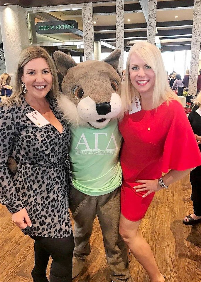 Photo - Keri Thompson, Skiouros, sorority mascot, Lesley Noller. PHOTO PROVIDED