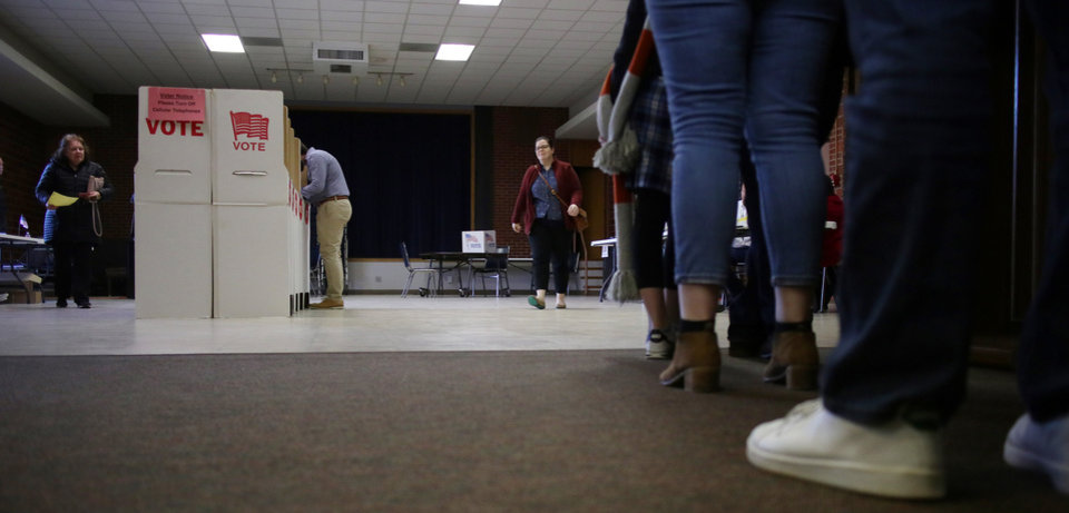 Photo -  Voters cast their ballots in Oklahoma City election at Crown Heights Christian Church, 4200 N Western . Monday, February 11, 2019.  Photo by Doug Hoke/The Oklahoman