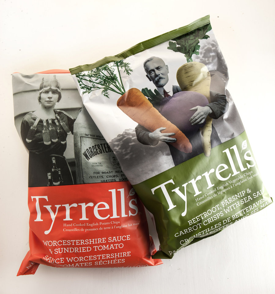 Tyrrell's Hand Cooked English Potato Chips in seven flavors, including the sweet-salty Beetroot, Parsnip & Carrots With Sea Salt, as well as the tangy Worcestershire Sauce & Sundried Tomato. (Bill Hogan/Chicago Tribune/MCT)