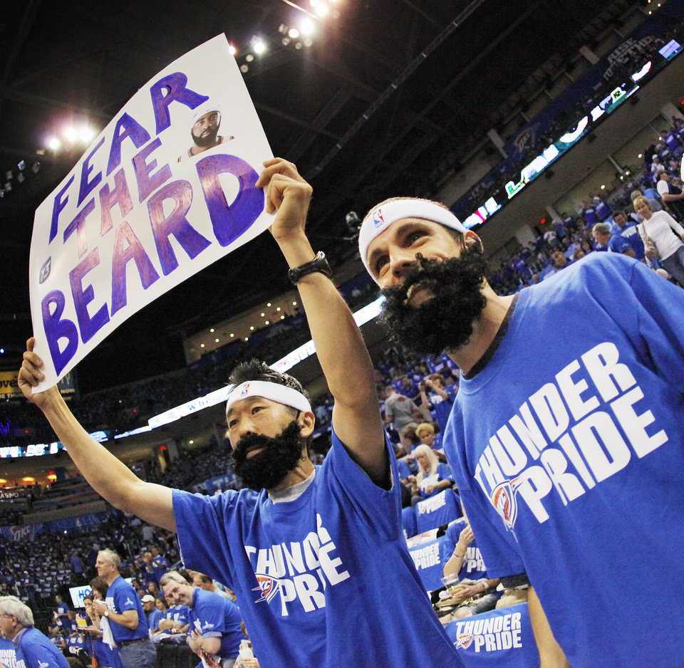 Thunder fans William Choi, left, and Jonathan Pillow, both of Edmond, Okla., wear fake beards in support of James Harden before game 3 of the Western Conference Finals of the NBA basketball playoffs between the Dallas Mavericks and the Oklahoma City Thunder at the OKC Arena in downtown Oklahoma City, Saturday, May 21, 2011. Photo by Nate Billings, The Oklahoman