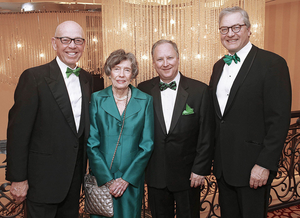 Photo - Tom McDaniel, Lou Ackerman, David Egan and Pat Rooney attended the Green Tie Gala, a benefit for Catholic Charities at the Skirvin in downtown Oklahoma City Friday, March 8, 2013. Photo by Doug Hoke, The Oklahoman
