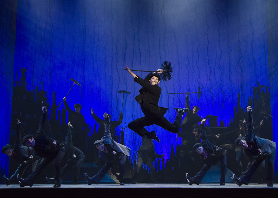 "Bert (Con O'Shea-Creal) is caught mid-air in the lively ""Step in Time"" number from ""Mary Poppins.   Photo by Kyle Froman <strong>Kyle Froman</strong>"