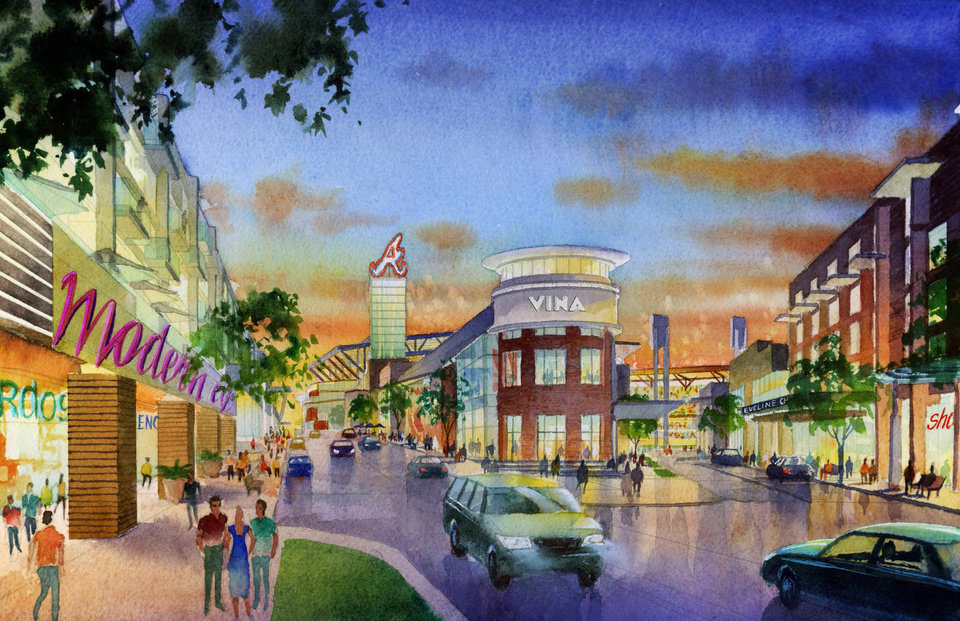 Photo - This artist rendering provided by the Atlanta Braves shows the team's proposed new ballpark and mixed-use development design in Cobb County including restaurants and shops along a boulevard outside the stadium in suburban Cobb County, which they say will seat 41,500 and include plenty of revenue-generating amenities around the ballpark. The stadium is scheduled to open in 2017, replacing Turner Field. (AP Photo/Atlanta Braves)