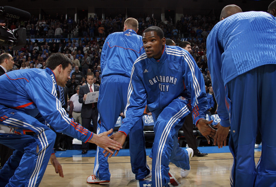 Oklahoma City\'s Kevin Durant (35) is introduced during the NBA game between the Oklahoma City Thunder and the Portland Trailblazers, Sunday, March 27, 2011, at the Oklahoma City Arena. Photo by Sarah Phipps, The Oklahoman