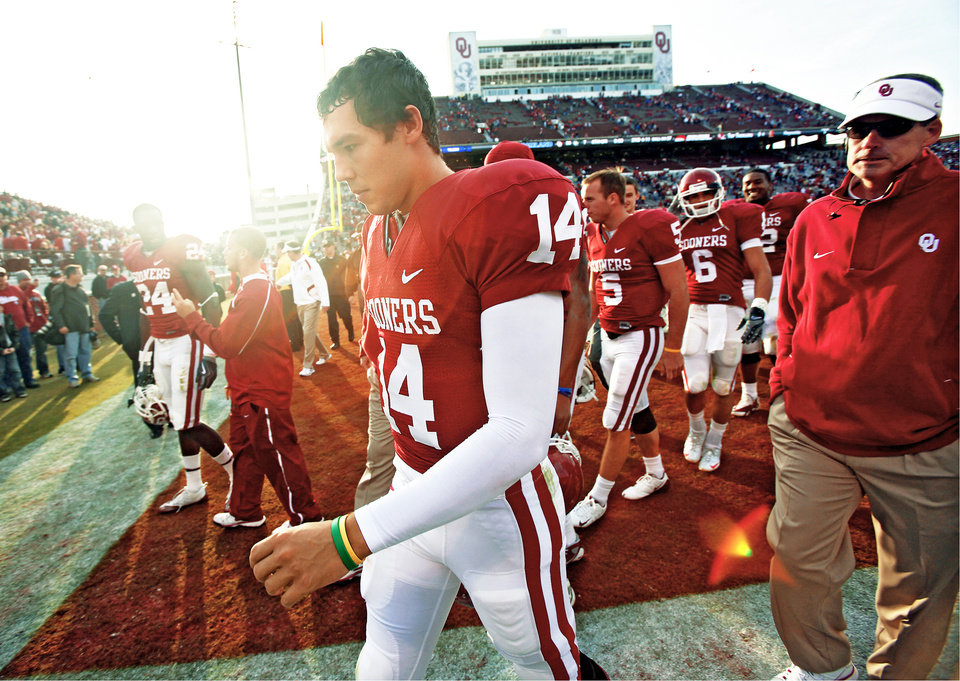 OU quarterback Sam Bradford walks off the field after the win over Baylor. Photo by Chris Landsberger, The Oklahoman