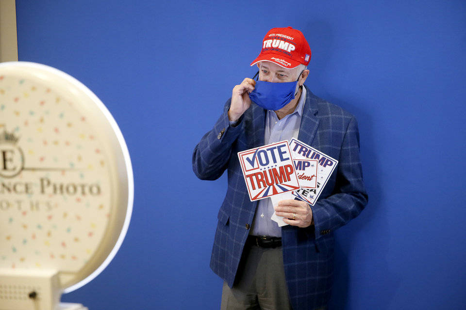 Photo - Mark Kelly gets his photo taken during a Republican Party election night watch party in Edmond, Tuesday, Nov. 3, 2020. [Bryan Terry/The Oklahoman]