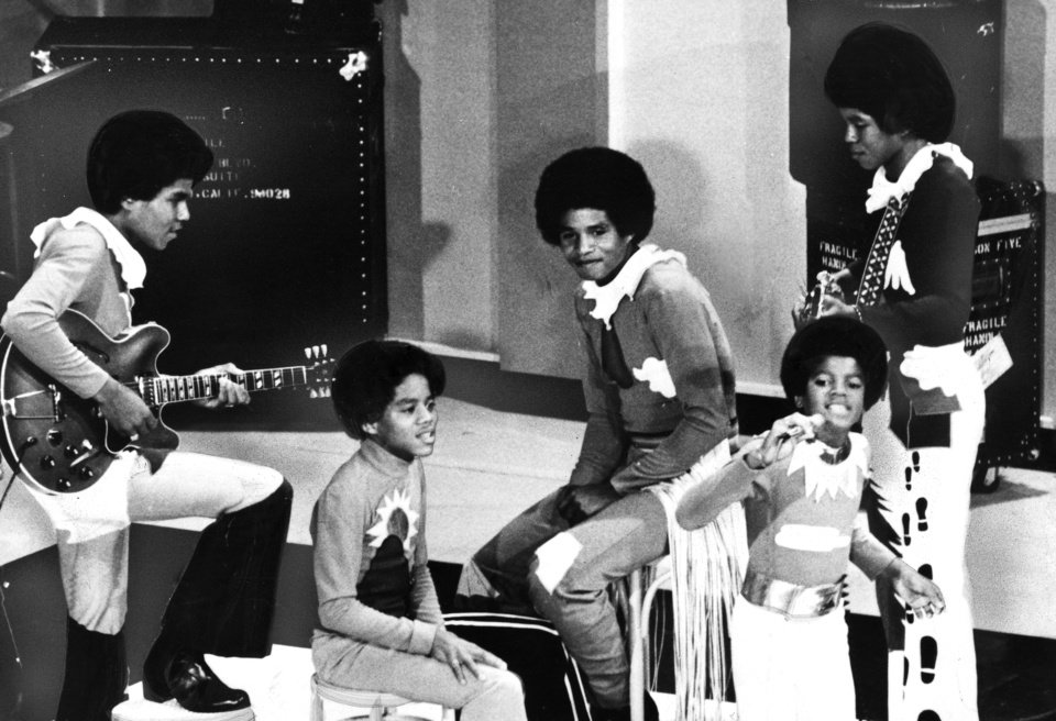 Photo - MICHAEL / JACKIE / MARION / JERMAINE / TITO: The Jackson Five ... in Tulsa Friday. Photographer unknown, photo not dated. Published in The Daily Oklahoman 07/20/1972