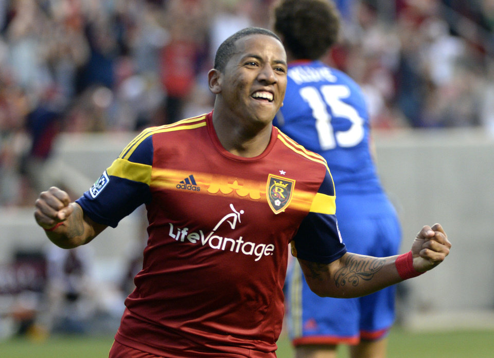 Photo - Real Salt Lake forward Jou Plata (8) celebrates his goal for their team against Colorado Rapids during an MLS soccer match, Saturday, May 17, 2014, in Sandy, Utah. (AP Photo/The Salt Lake Tribune, Rick Egan) DESERET NEWS OUT; LOCAL TV OUT; MAGS OUT.