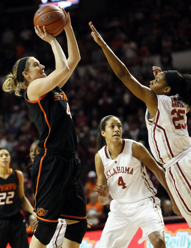 Photo - Oklahoma State's Liz Donohoe (4) shoots against Oklahoma's Gioya Carter (25) near Nicole Griffin (4) in the first half during a women's Bedlam college basketball game between the Oklahoma State University Cowgirls (OSU) and the University of Oklahoma Sooners (OU) at Lloyd Noble Center in Norman, Okla., Saturday, Feb. 1, 2014. Photo by Nate Billings, The Oklahoman