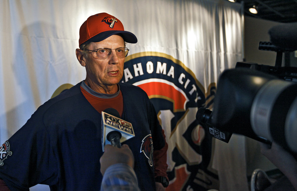 Oklahoma City Redhawks pitching coach Burt Hooton talks to the media during the Oklahoma City Redhawks media day at the Bricktown Ballpark on Tuesday, April 5, 2011, in Oklahoma City, Okla. Photo by Chris Landsberger, The Oklahoman